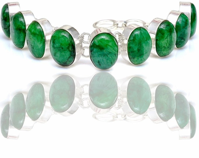 Emerald Cabochon Genuine Gemstone Bracelet B4427
