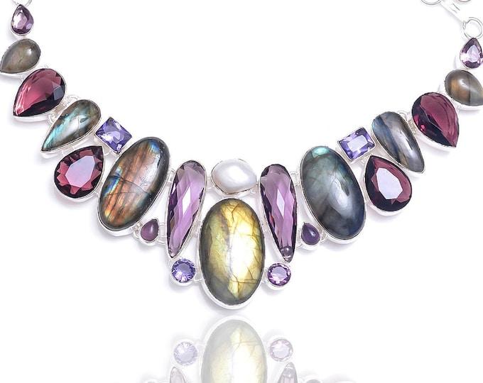 Labradorite Amethyst Pearl Necklace NK100