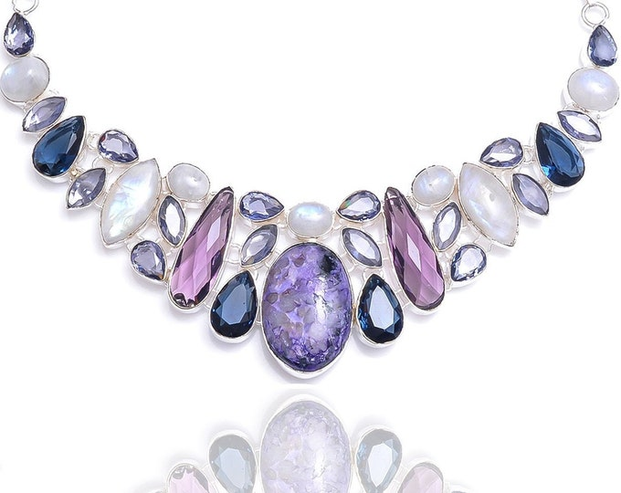 Charoite Moonstone Amethyst Necklace NK104
