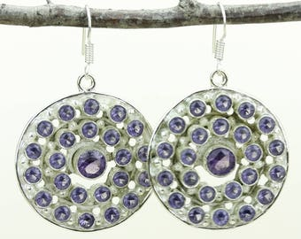 Amethyst 925 SOLID (Nickel Free) Sterling Silver Italian Made Dangle Earrings e665