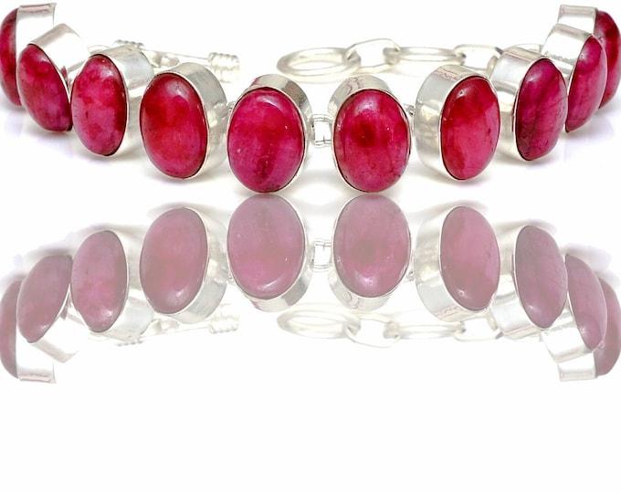 Ruby Cabochon Genuine Gemstone Bracelet B4414
