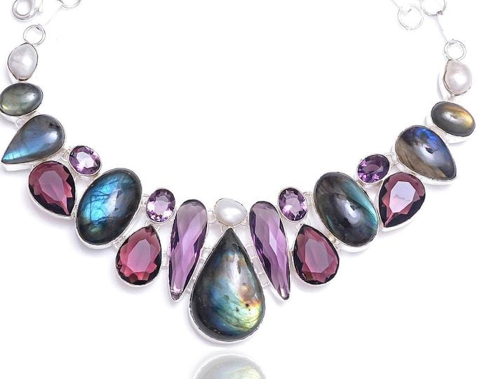 Labradorite Pearl Irradiated Amethyst Necklace NK55