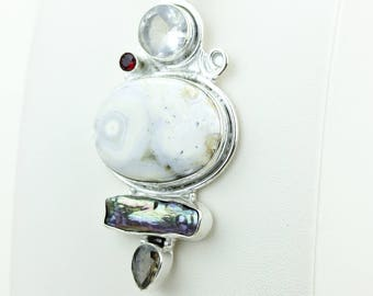 Ocean Jasper Pearl Clear Toapz Smokey Toapz 925 S0LID Sterling Silver Pendant + 4MM Snake Chain & Worldwide Shipping p4055