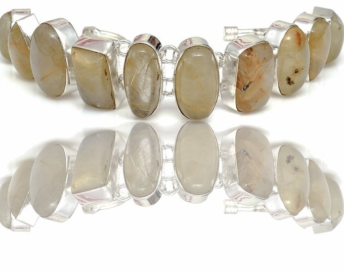 Rutile Rutilated Quartz Genuine Gemstone Bracelet B4416