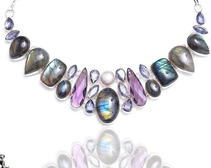 Labradorite Amethyst Iolite Pearl Necklace N94