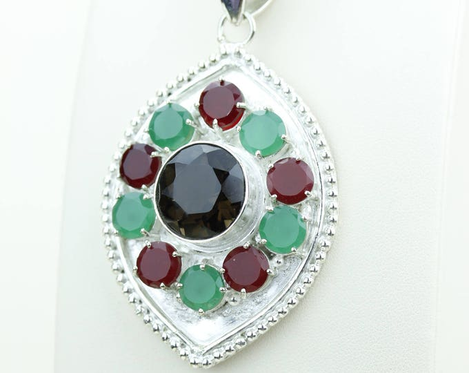Emerald Ruby And Smokey Topaz 925 S0LID Sterling Silver Pendant + 4MM Snake Chain & Worldwide Shipping p4057