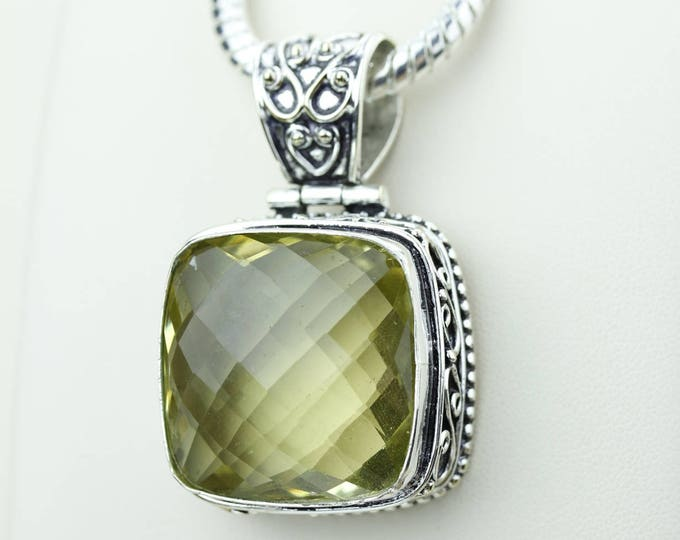 Square Cut Facated Vintage Setting Citrine 925 S0LID Sterling Silver Pendant + 4MM Snake Chain & Worldwide Shipping p4203