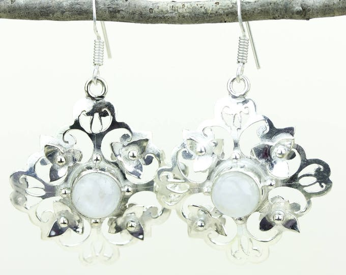 Moonstone 925 SOLID (Nickel Free) Sterling Silver Italian Made Dangle Earrings e643