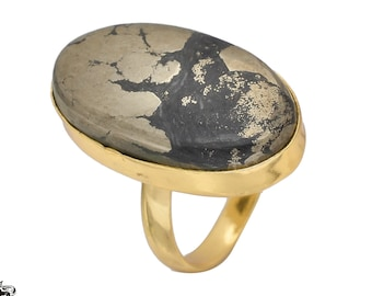 Size 8.5 Size 10 Adjustable Azurite Malachite 24K Gold Plated Ring GPR1079
