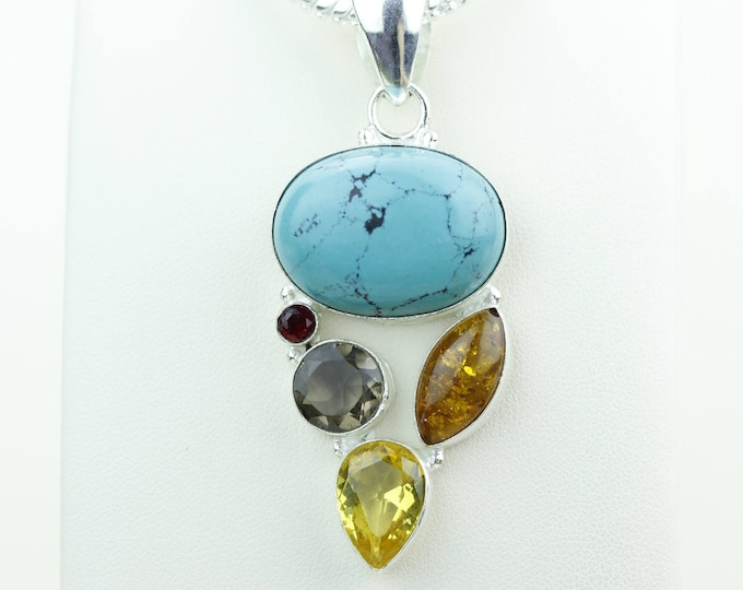Turquoise Amber Citrine Smokey Topaz 925 S0LID Sterling Silver Pendant + 4MM Snake Chain & Worldwide Shipping p4070