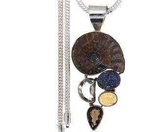 Ribbed Ammonite Amber Titanium Drusy PRASIOLITE Green Amethyst 925 Sterling Silver Pendant  4MM Italian Snake Chain P980