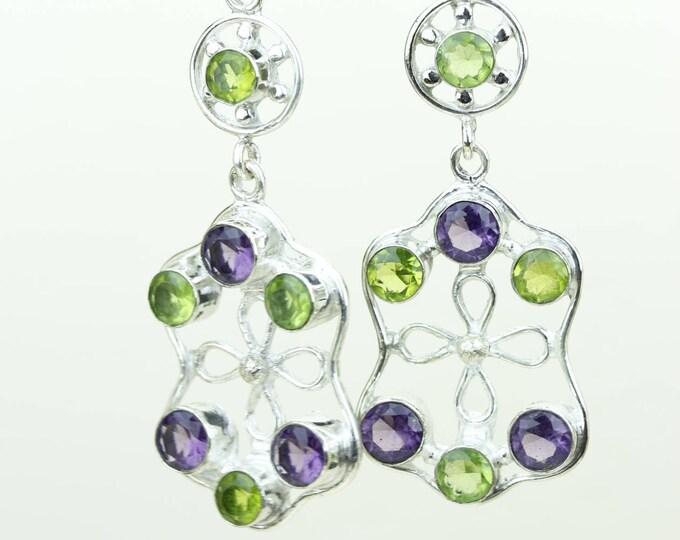 Amethyst Peridot 925 SOLID (Nickel Free) Sterling Silver Italian Made Dangle Earrings e657