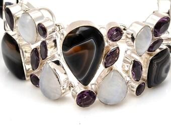 Banded Agate Moonstone Bracelet B3776