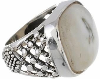 Expert Workmanship! Solar Quartz Cabochon SIZE 8 925 Fine Sterling Silver Ring R2666