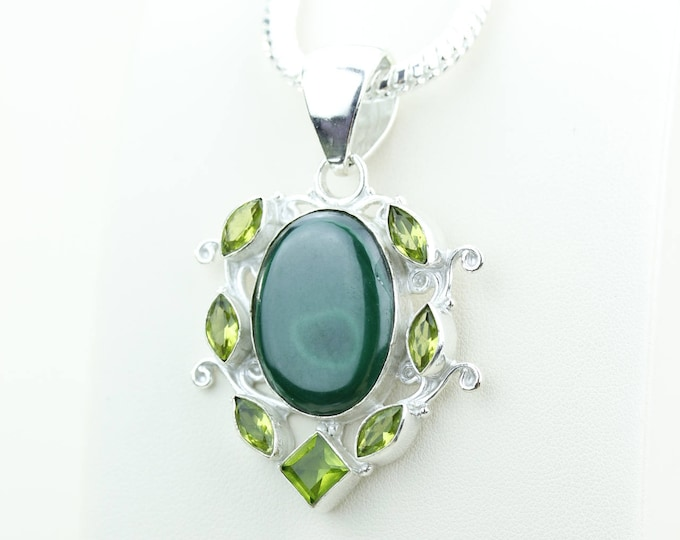 MALACHITE Periodt 925 S0LID Sterling Silver Pendant + 4MM Snake Chain & Worldwide Shipping p4026