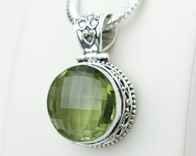 Facated Round Shapped Green Amethyst 925 S0LID Sterling Silver Pendant + 4MM Snake Chain & Worldwide Shipping p4208