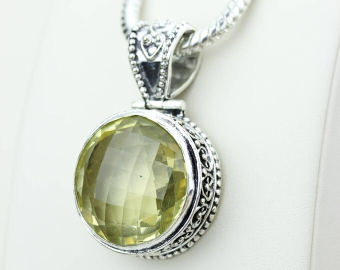 Round Shapped Vintage Setting Citrine 925 S0LID Sterling Silver Pendant + 4MM Snake Chain & Worldwide Shipping p4214