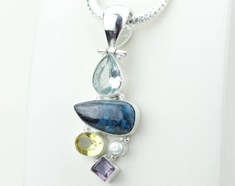 Chrysocolla Clear Topaz Citrine Amethyst Pearl 925 S0LID Sterling Silver Pendant + 4MM Snake Chain p4185