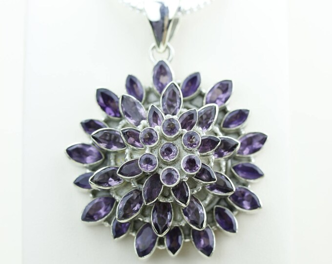 Rare 3D Three Layers Design Amethyst 925 S0LID Sterling Silver Pendant + 4MM Snake Chain & Worldwide Shipping p4048
