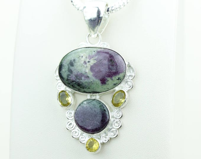 Healing Stone!! Ruby Zoisite Anyolite Citrine 925 SOLID Sterling Silver Pendant + 4mm Snake Chain & Worldwide Shipping p4060