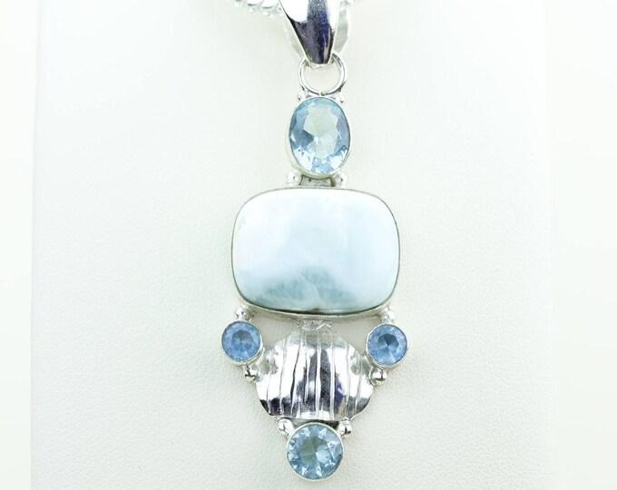 Larimar Swiss Blue Topaz 925 S0LID Sterling Silver Pendant + 4MM Snake Chain & Worldwide Shipping p4044