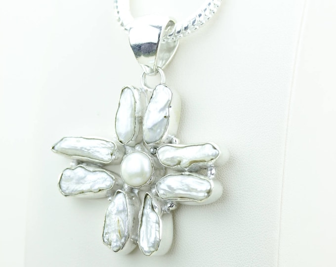 Unique Design with Fresh Water Pearl 925 S0LID Sterling Silver Pendant + 4MM Snake Chain & Worldwide Shipping p4029
