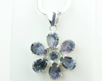 Mystic Topaz 925 S0LID Sterling Silver Pendant + 4MM Snake Chain & Worldwide Shipping p4042