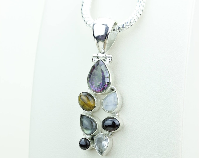 Mystic Topaz Tiger Eye Moonstone Labradorite 925 S0LID Sterling Silver Pendant + 4MM Snake Chain & Worldwide Shipping p4091