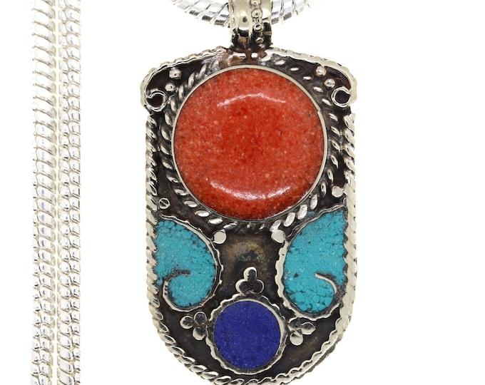 Turquoise Coral Tibetan Silver Nepal Pendant 4MM Italian Snake Chain 4MM Snake Chain N43