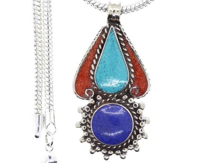 Turquoise Coral Tibetan Silver Nepal Pendant 4MM Italian Snake Chain 4MM Snake Chain N35