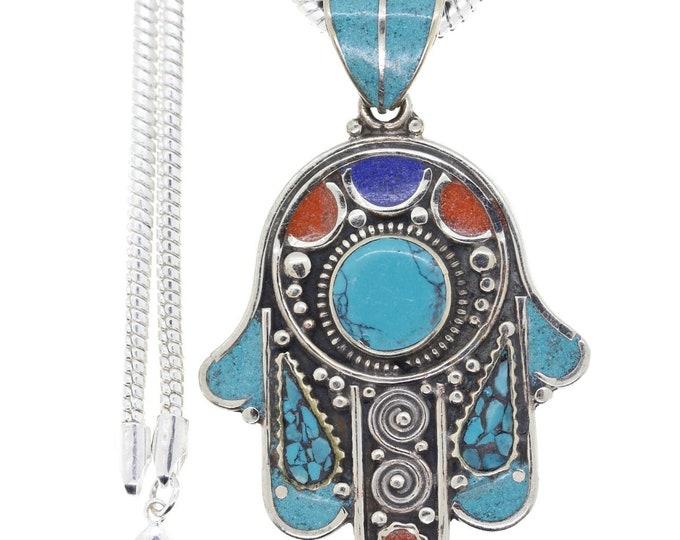 Turquoise Coral Hamsa Tibetan Silver Nepal Pendant 4MM Italian Snake Chain N3