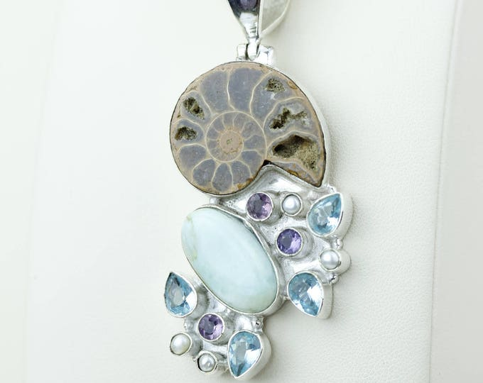 Beautiful Combination! Larimar Swiss Blue Topaz Amethyst Ammonite 925 S0LID Sterling Silver Pendant + 4MM Snake Chain p4145