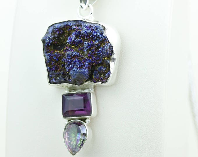 Titanium Druzy Mystic Topaz Amethyst 925 S0LID Sterling Silver Pendant + 4MM Snake Chain p4061