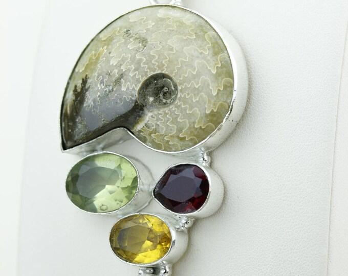 Ammonite Fossil Citrine Lemon Topaz Garnet Blue Topaz 925 S0LID Sterling Silver Pendant + 4MM Snake Chain & Worldwide Shipping p4254