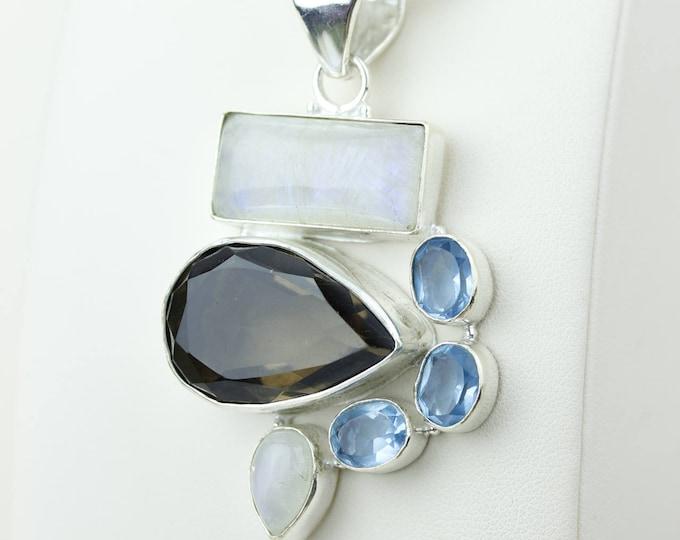 Unique Design Snokey Topaz Moonstone Swiss Blue Topaz 925 S0LID Sterling Silver Pendant + 4MM Snake Chain & Worldwide Shipping p4152