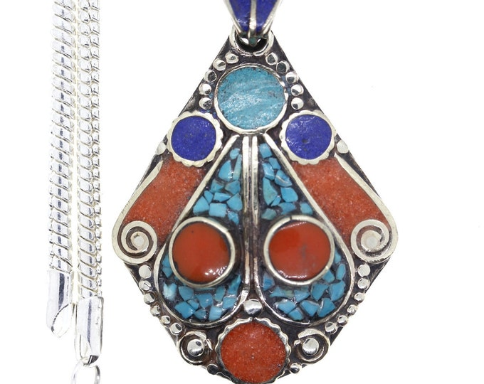 Turquoise Coral Tibetan Silver Nepal Pendant 4MM Italian Snake Chain 4MM Snake Chain N37