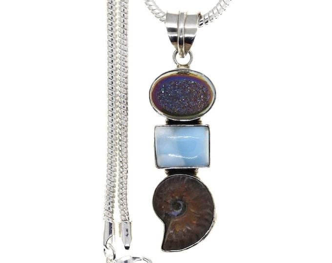 Ammonite  Titanium Druzy 925 Sterling Silver Pendant  4MM Italian Snake Chain P952