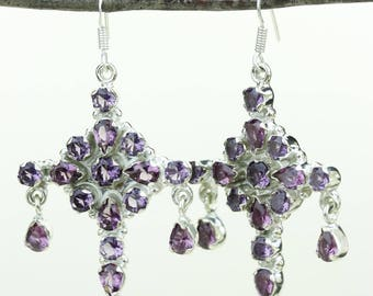 Amethyst 925 SOLID (Nickel Free) Sterling Silver Italian Made Dangle Earrings e669