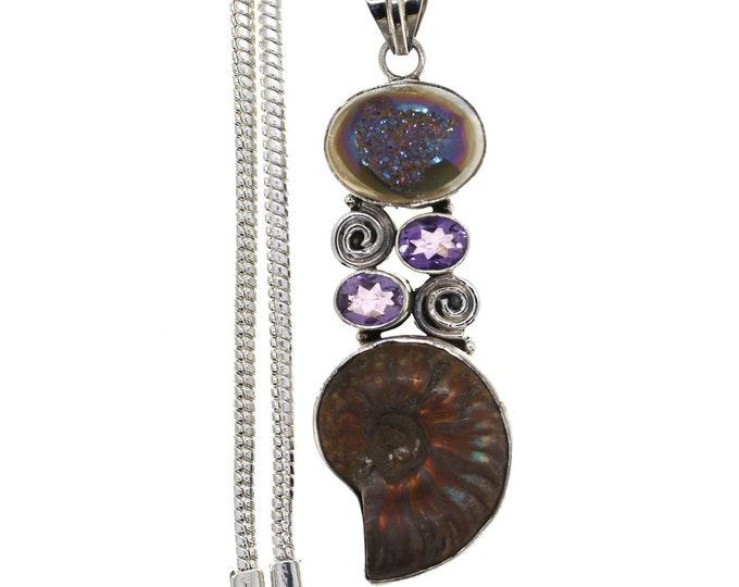 Ammonite Fossil Titanium Agate Druzy Drusy Amethyst 925 Sterling Silver Pendant  4MM Italian Snake Chain   P871