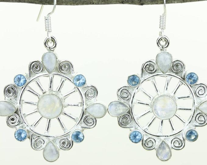Moonstone Blue Topaz 925 SOLID (Nickel Free) Sterling Silver Italian Made Dangle Earrings e645