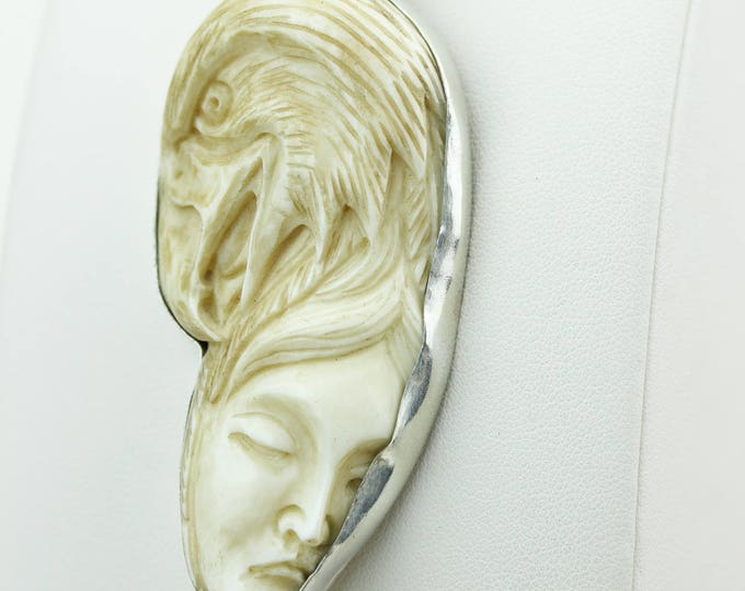 LADY EAGLE Totem Deer Antler Bone Carving 925 S0LID Sterling Silver Pendant + 4MM Snake Chain p4303