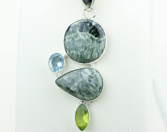 Seraphinite Combined with Blue Topaz Peridot 925 S0LID Sterling Silver Pendant + 4MM Snake Chain & Worldwide Shipping p4003