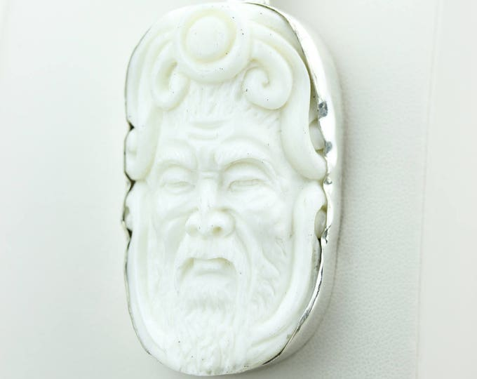 DEER ANTLER Native TOTEM Goddess Face Moon Face Bone Carving 925 S0LID Sterling Silver Pendant + 4MM Chain p4302
