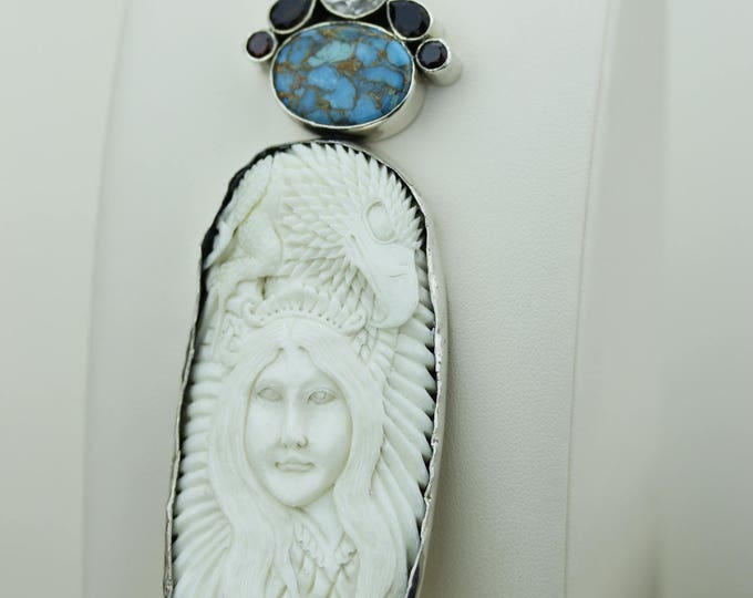 Owl Lady Eagle CARVED TOTEM Cameo TURQUOISE 925 S0LID Sterling Silver Pendant + 4mm Snake Chain & Free Worldwide Shipping mp147