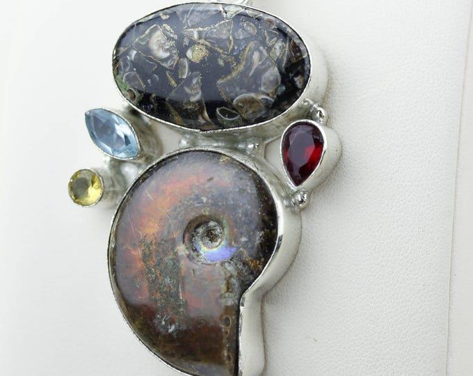 Ammonite Fossil Garnet Citrine Blue Topaz Tourmaline Quartz 925 S0LID Sterling Silver Pendant + 4MM Snake Chain & Worldwide Shipping p4240