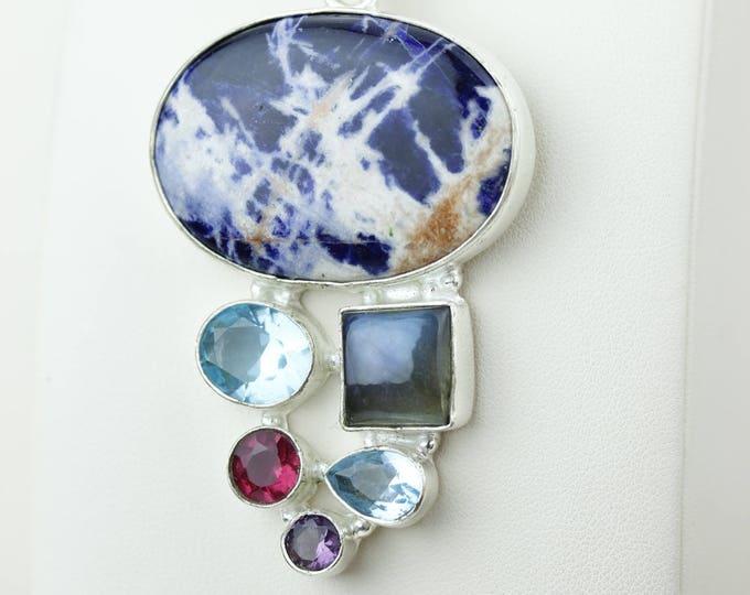 Sodalite Labradorite Garnet Blue Topaz 925 S0LID Sterling Silver Pendant + 4MM Snake Chain & Worldwide Shipping p4155