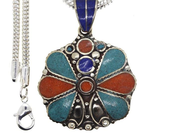 Turquoise Coral Tibetan Silver Nepal Pendant 4MM Italian Snake Chain 4MM Snake Chain N44