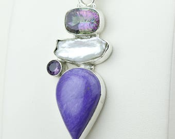 Charoite Mystic Toapz Pearl Amethyst 925 S0LID Sterling Silver Pendant + 4MM Snake Chain p4195