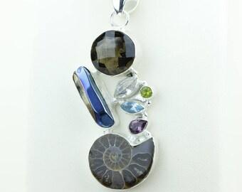Ammonite Fossil Titanium Drusy Peridot Amethyst Blue Topaz 925 S0LID Sterling Silver Pendant + 4MM Snake Chain & Worldwide Shipping p4010