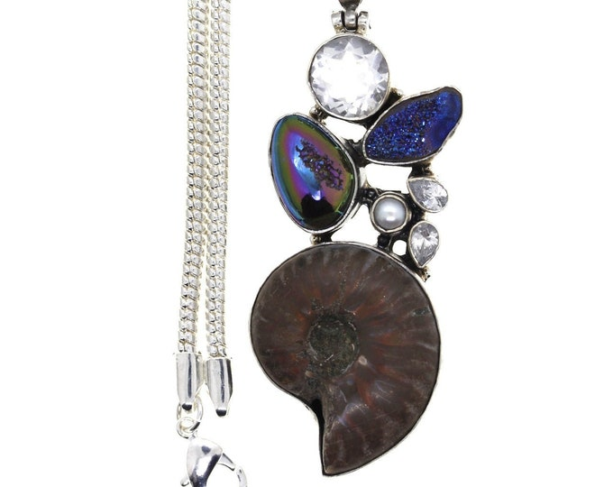Ammonite Fossil Titanium Druzy Drusy Pearl Clear Topaz 925 Sterling Silver Pendant 4MM Italian Snake Chain P940